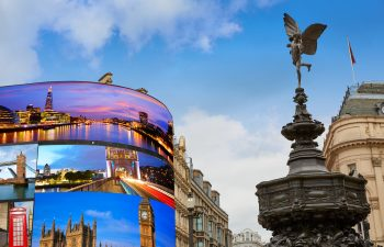 View of Piccadilly Circus in London, England