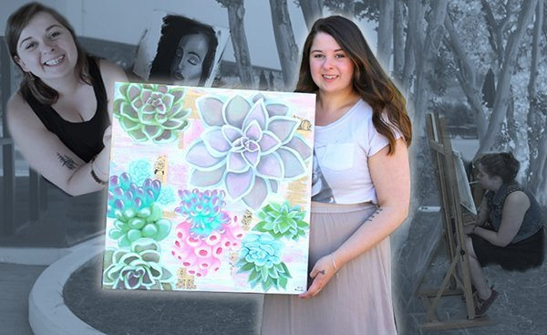 Alexia holding the painting she donated