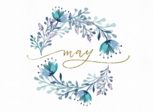 The word may with a ring of flowers around it.