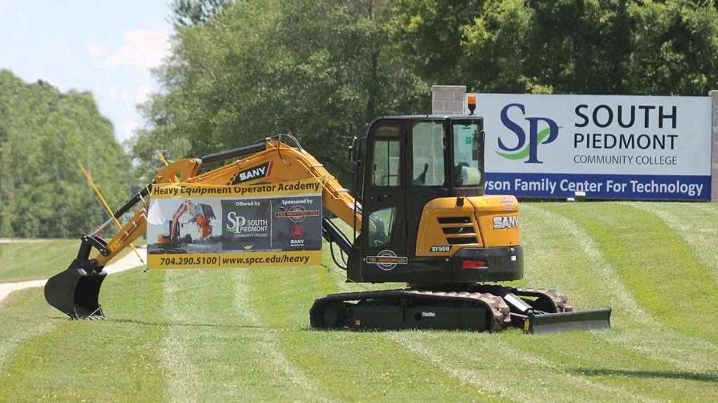 excavator at the tyson campus